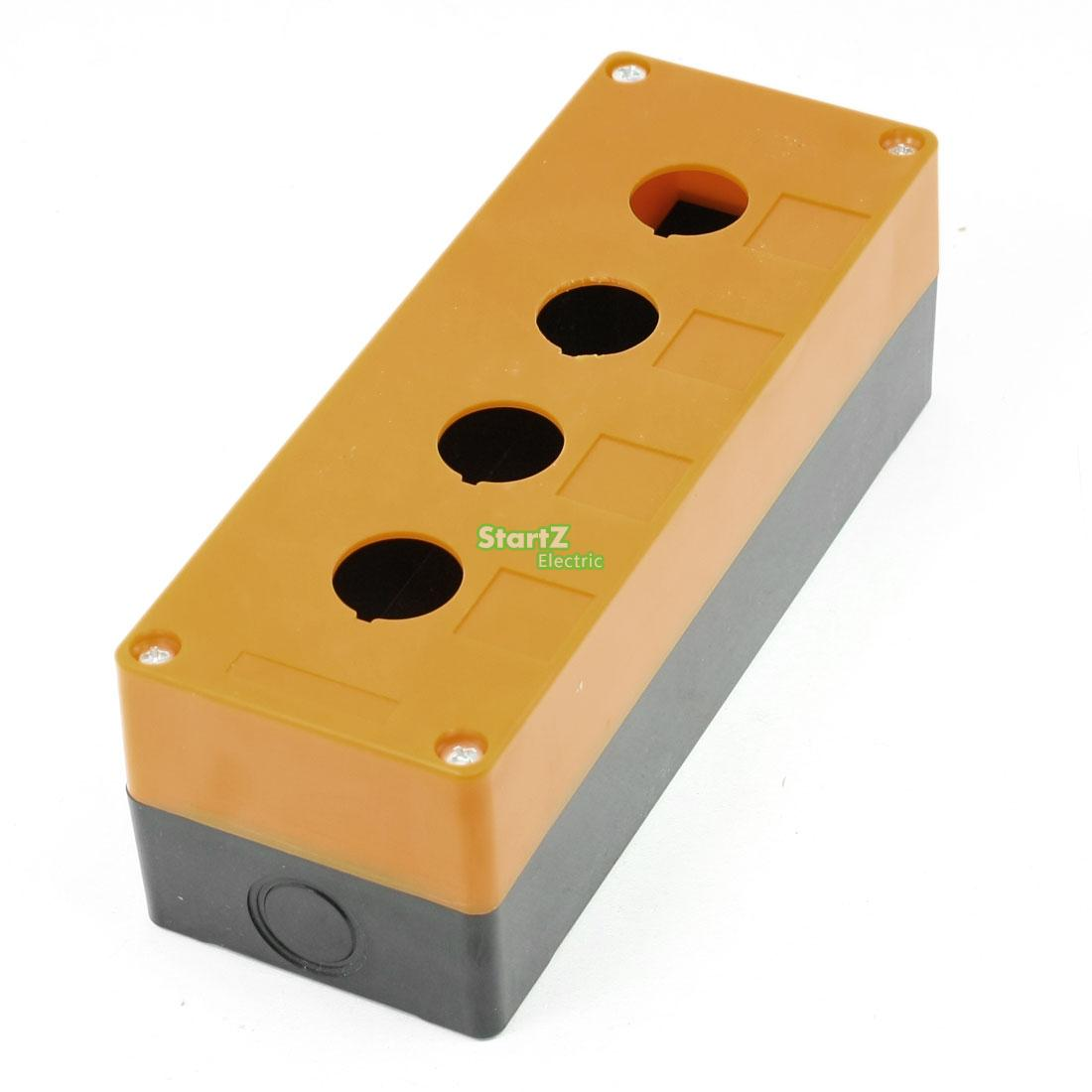 все цены на Yellow Black Plastic 22mm Hole 4 Push Button Switch Control Station Box