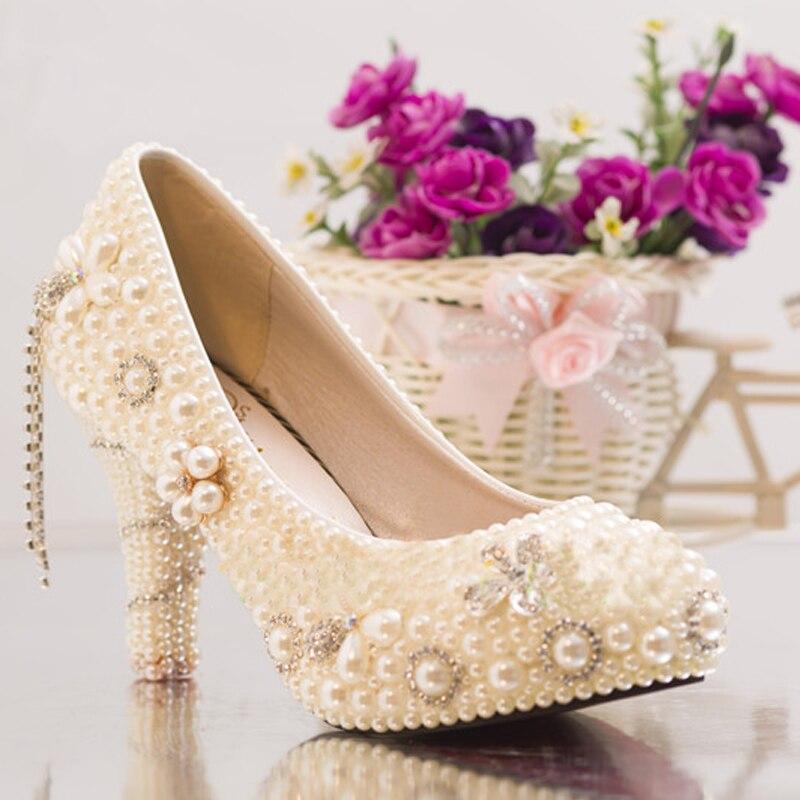 Artisanat ivoire haut talon plates-formes de fête de bal chaussures d'été strass chaussures de mariage mariée perle cristal robe chaussures - 3