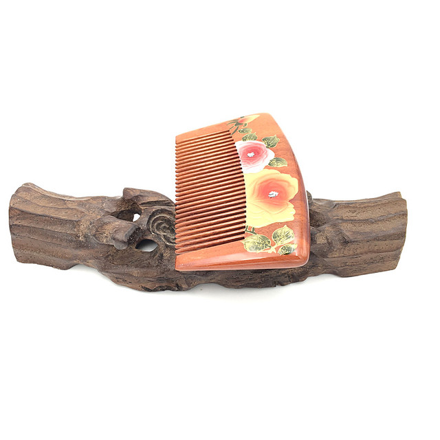 Classical Hairdressing Brushes Natural Boxwood Comb Flower Painting Anti-static Massage Hairbrush Gift for Girl L-212