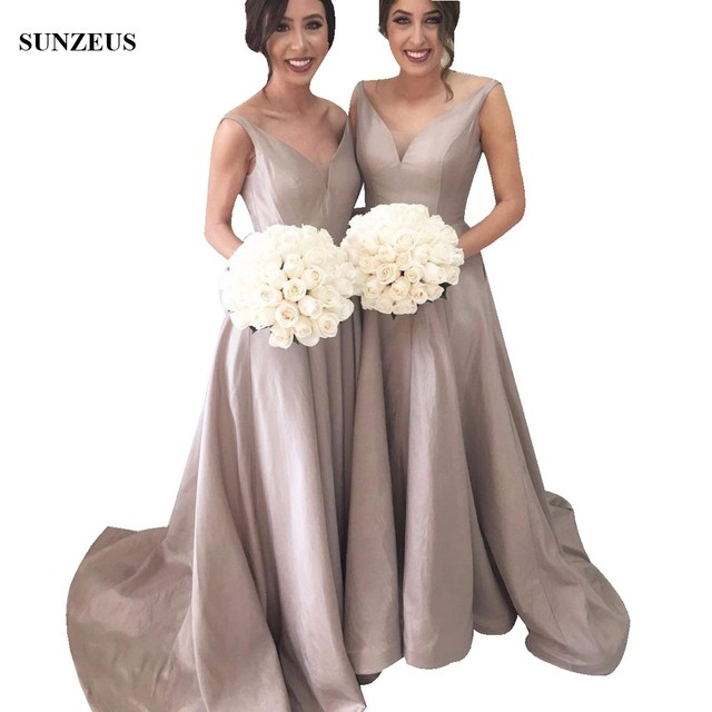 Grey Taffeta Bridesmaid Dresses A Line V Neck Long Wedding Party Gowns Y Backless