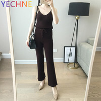 Woman Wool Solid Color Pant Spring Autumn Fashion Thick Knitted Wool Pants Female Wide legged Three Colors Trousers
