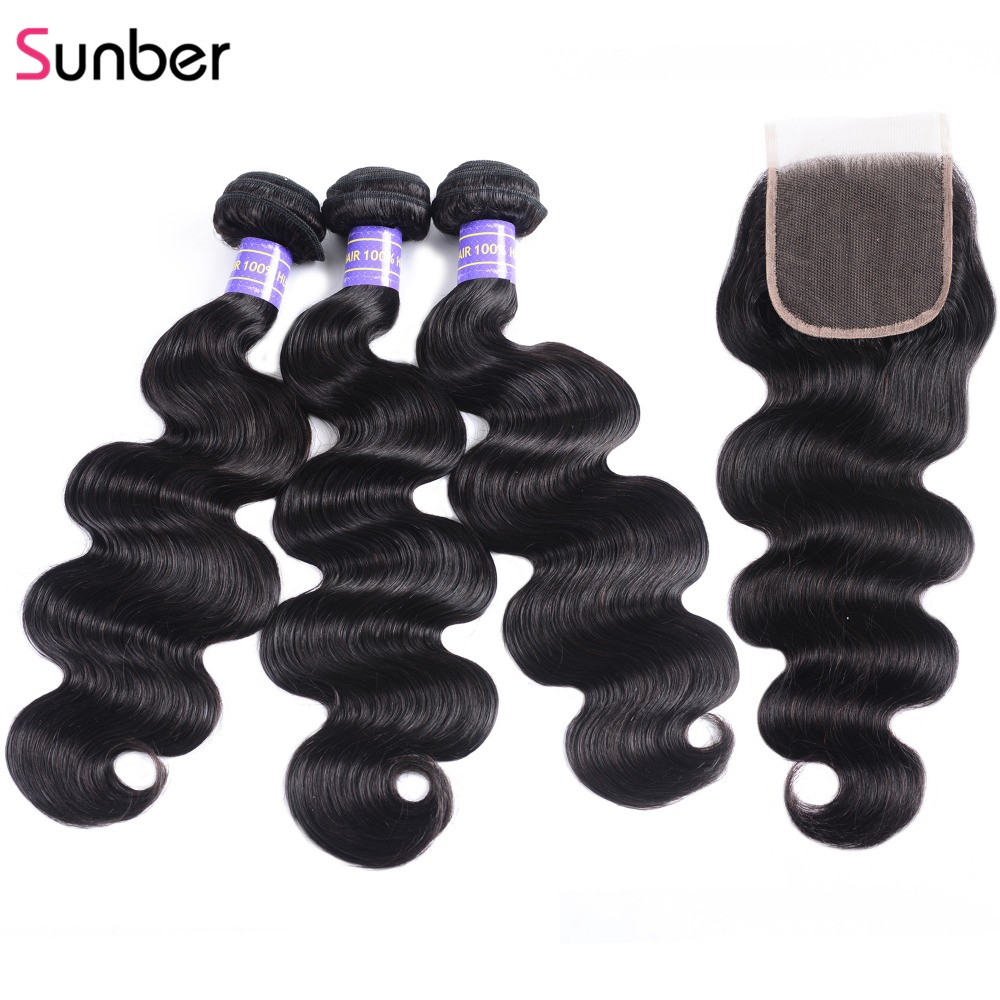 Sunber Hair Body Wave Human Hair Bundles With Closure Malaysian Hair Weave Bundles With Closure Remy