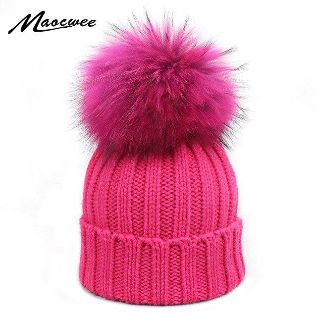 0dc4409304b Adult and Child Dyeing Pompom Beanies Winter Women s Hats Knitted Skullies  Real Fur Pom pom Cap Gorros Bonnet Femme Hat For Girl