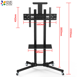 """Image 2 - Universal TV Cart Free Lifting 32"""" 65""""LED LCD Plasma TV Trolley Stand with Mobile Wheels and Adjustable AV Shelf Camera Holder"""