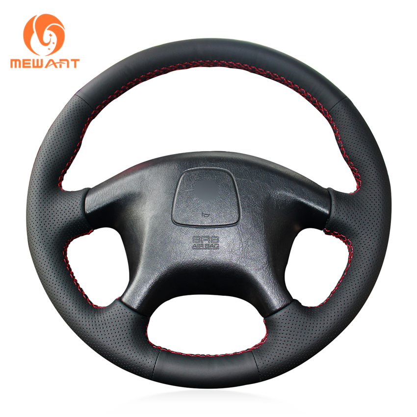 MEWANT Black Genuine Leather Car Steering Wheel Cover for Mitsubishi Pajero Old Mitsubishi Pajero Sport mewant black genuine leather black suede car steering wheel cover for mitsubishi lancer ex outlander asx colt pajero sport