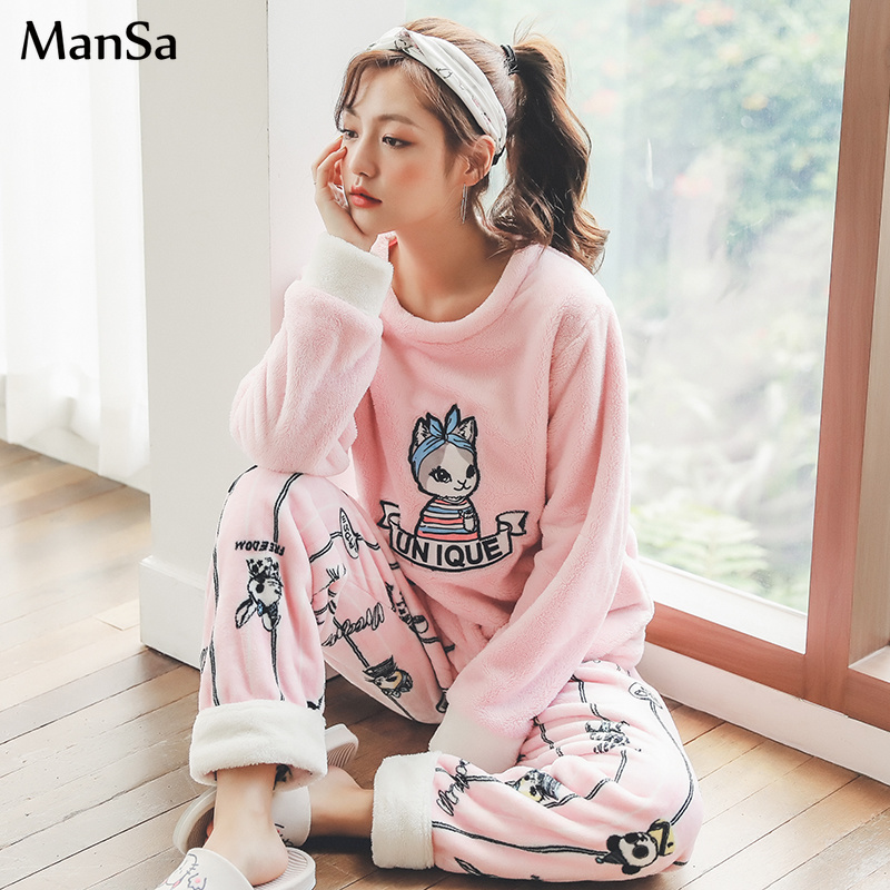 plus size 3XL 4XL 5XL   pajama     set   Winter Women   Pajamas   Thick Sleepwear Female Warm Coral Flannel Pijama Mujer pink cute homewear