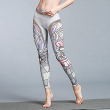Beautiful Fine Print Fast Drying Yoga Pants Women Sport Fitness Leggings Jogging Running Workout 10 Colors S-XL