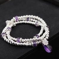 FNJ 925 Silver Wrap Bracelet Beaded Chain Purple Crystal Charm Thai S925 Silver Bracelets for Women Jewelry