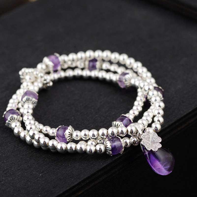 FNJ 925 Bracelet en argent avec chaîne perlée charme en cristal violet Thai S925 bijoux en argent bracelets pour femme