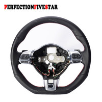 New Chromed Red/Gray Line Stitch Style Multifunction Steering Wheel Paddle DSG for VW Golf MK6 Jetta EOS Passat CC Tiguan