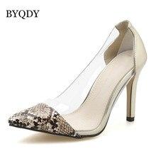 cd959755d BYQDY Mulheres Limpar Transparente Bombas de Prata de Ouro Do Dedo Do Pé  Apontado Stilettos de Salto Alto Sexy Sapatos de Casame.
