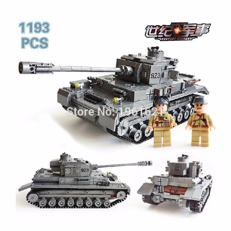 1193PCS Century Military German Armored Tank Cannon Type F2 Model Building Block Military Figures Bricks Educational Toy