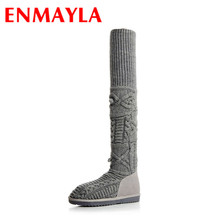 ENMAYLA Low Heels Big Size 34-42Winter Warm Boots Shoes Woman Black Gray Shoes Wool Knitting Cow Split Over-the-knee Boots Flats
