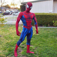 top quality 3D Print Spiderman Adult Lycra Spandex Zentai Full Body Suit Cosplay Costume for Halloween