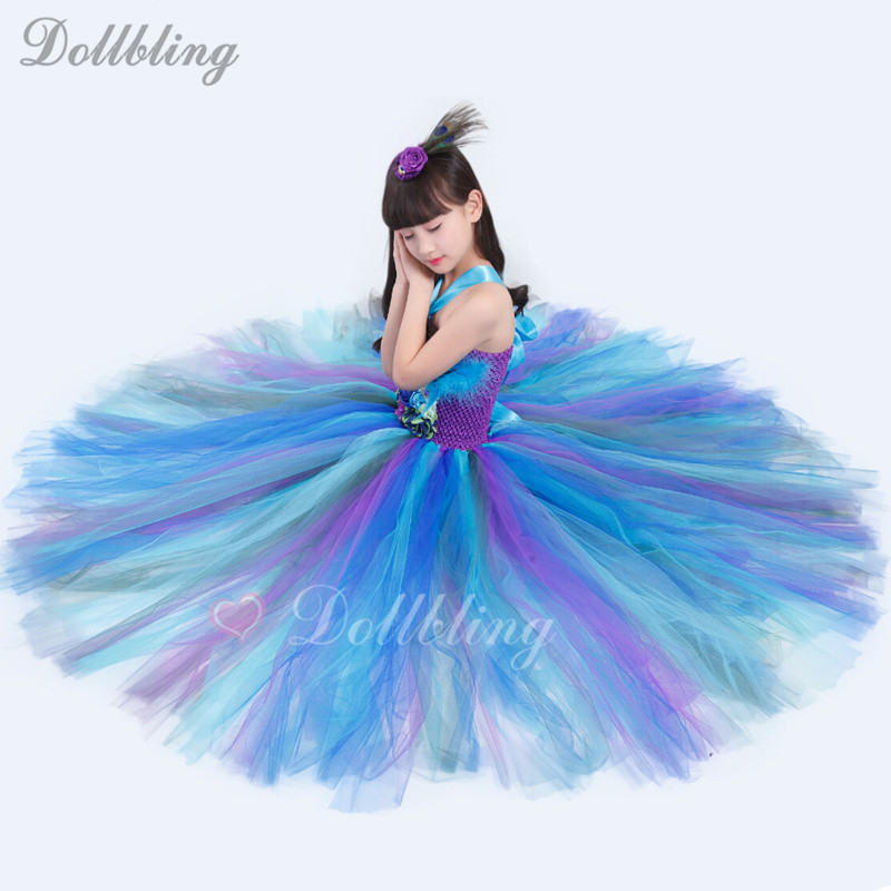 2-14Y Girls Peacock Tutu Dress Long Fluffy Tulle Feather Flower Baptism Kids my 1st Birthday Performing Halloween Party Dresses girls peacock tutu dress with feather long handmade 1 14y kid party ball gown flower wedding birthday halloween costume vestidos