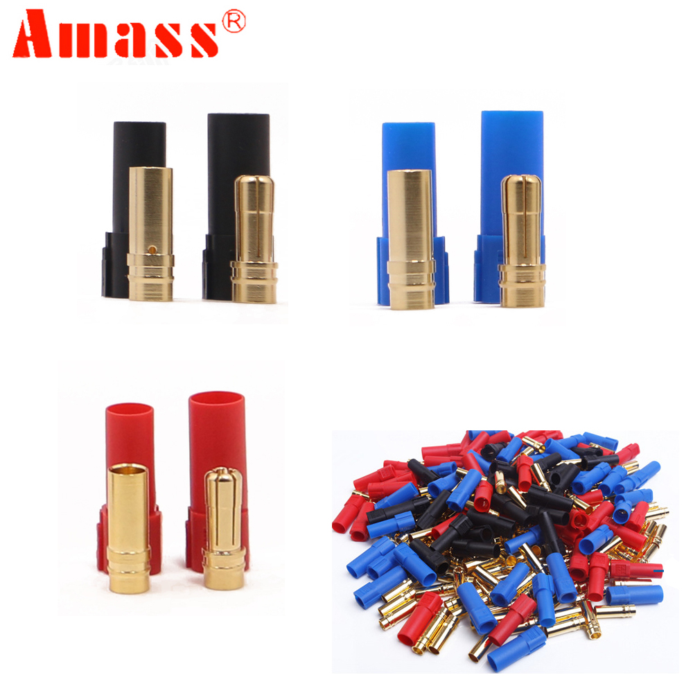 цена на 9Pairs/lot AMASS XT150 Connector Adapter Male Female Plug 6mm Gold Banana Bullet Plug