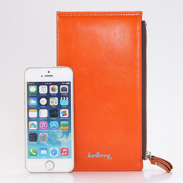 Baellerry Leather Brand Women Wallets Double Zipper Coin Pocket Purse Female Long Card Holders Wallet Ladies Phone Clutch W049