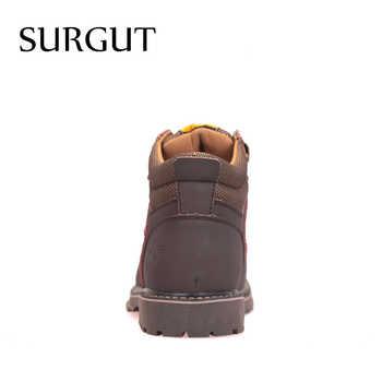 SURGUT Brand Super Warm Men\'s Winter Leather Men Waterproof Rubber Snow Boots Leisure Boots England Retro Shoes For Men Big Size