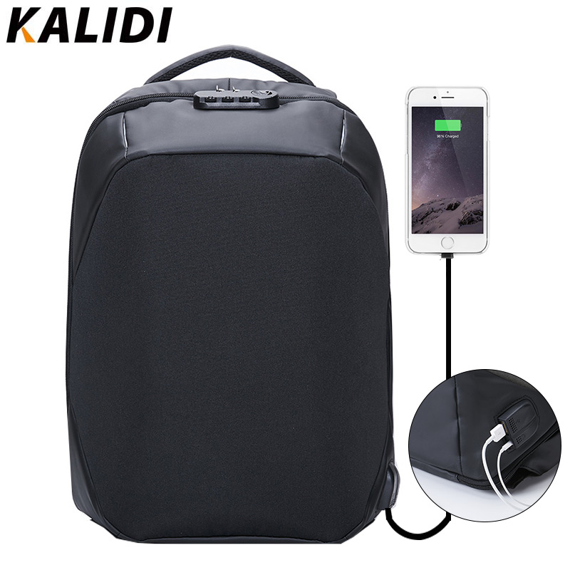 KALIDI Anti theft Backpack 15.6 inch Waterproof Backpack Men USB Charger Travel School Bag for Teenage Laptop Backpack 15 Inch цена 2017