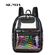 0e5263384a50 Sequins Bling Women Backpack Fashion Black Transparent Jelly Student  Schoolbags Laser Color Girls Travel Backpack 2018 Book Bags