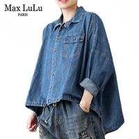 Max LuLu Autumn Luxury Korean Style Ladies Streetwear Womens Fashion Denim Shirts Vintage Long Sleeve Tops And Blouses Plus Size
