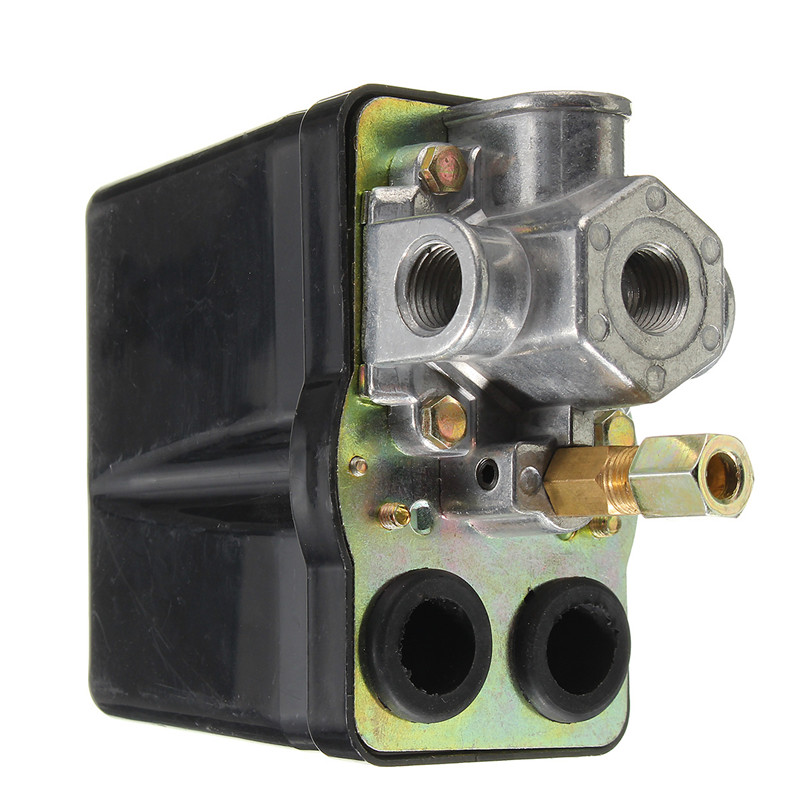 3 Phase Air Compressor Pressure Control Switch Valve 90psi -120psi 12 Bar 25AMP AC220V 4 Port Hot Sale air compressor pressure valve switch manifold relief regulator gauges 90 120 psi 240v 17x15 5x19 cm hot sale