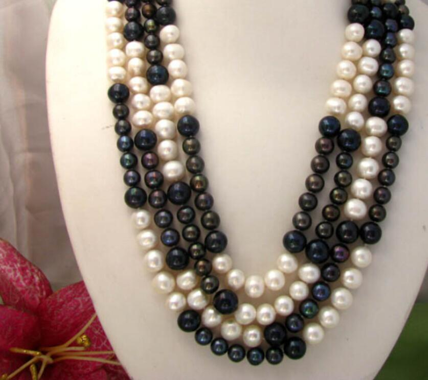 Fashion 10011mm round white black freshwater pearl necklaceFashion 10011mm round white black freshwater pearl necklace