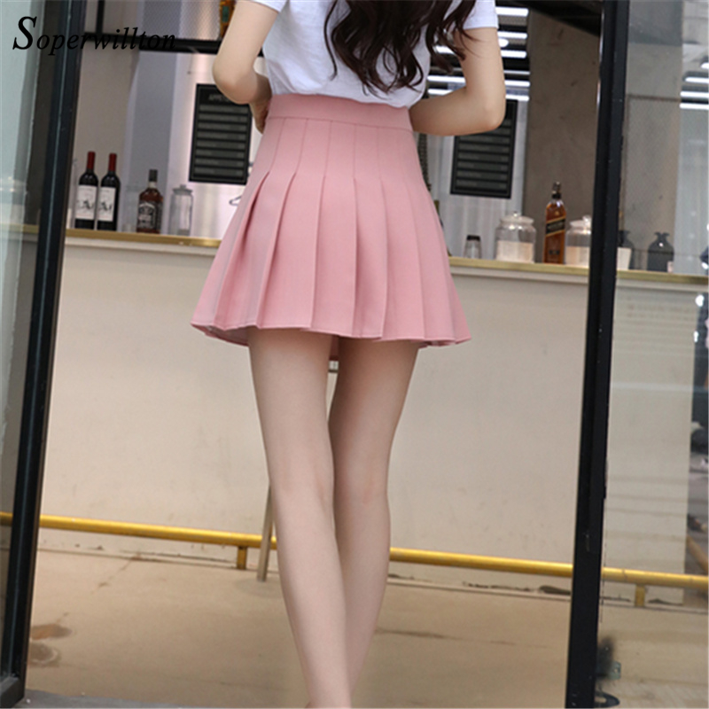 cbf07f6c64 Aliexpress.com : Buy 2018 High Waist Short School Pleated Skirt For Girls Mini  Sexy Pink Summer Skirts Womens Leggings Female kawaii Sun Skirt Zipper from  ...