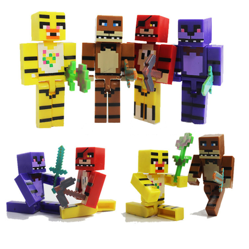 4pcs for Minecraft FNAF Plastic Toy Set Five Nights At