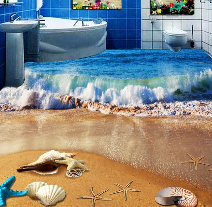 custom floor pvc Beach shells self adhesive wallpaper 3d flooring wallpapers for living room 3d floor 3d stereoscopic wallpaper custom floor wallpapers 3d stereoscopic dolphin sea turtle bathroom floor pvc self adhesive mural wallpaper papel de parede 3d