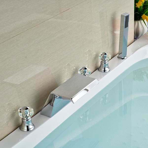 цена на Waterfall Bathroom Sink Faucet 5 PCS Basin Tub Faucet Mixer Tap with Hand Sprayer