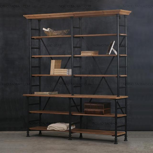 French country furniture industry LOFT style wrought iron wood bookcase  shelf bookcase showcase Distressed