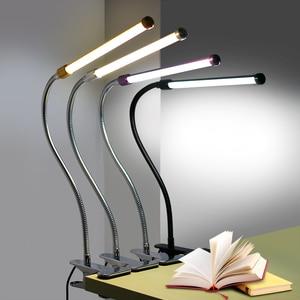 Image 5 - Clip Houder Usb Powered Led Bureaulamp Flexibele Zwanenhals Reading Tafellamp Dimbare Oogbescherming Nachtlampje Voor Studie Office