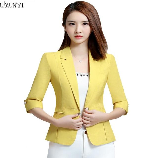23ee083cf79 2XL 3XL 2017 Spring Autumn Blazer Feminino Three Quarter Sleeves Short Blazer  Women Plus Size Korean