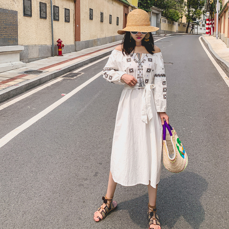 Ubei Summer holiday beach dress loose one shoulder high waist embroidery dress cotton hemp long red white bohemian dress in Dresses from Women 39 s Clothing