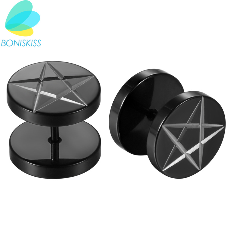 Boniskiss Stainless Steel Ear Studs Earrings Black Plated Round Star shape Earrings Women Men Earring Boucle Doreille