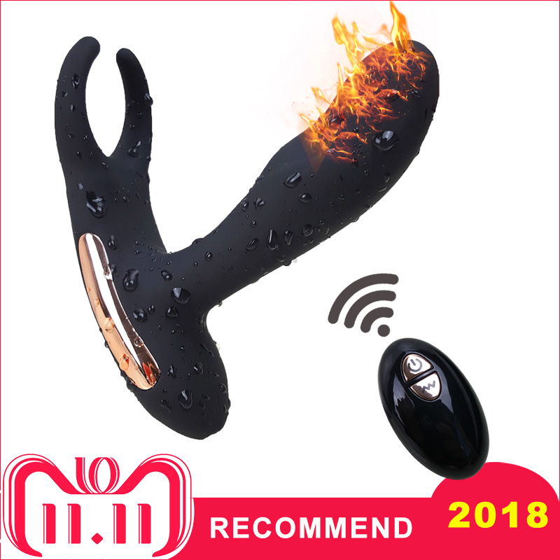 купить New Remote Control Prostate Massager USB Charging Strapon for Men Anal Vibrator Sex Toys for Men Heating Anal Plugs Products по цене 1631.26 рублей