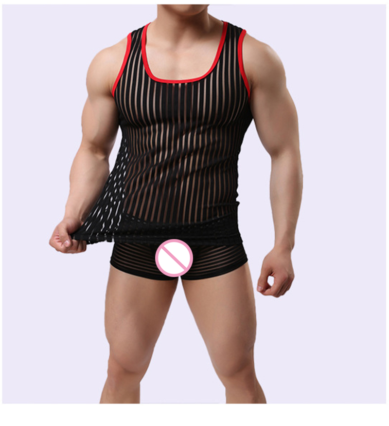 Mens Sexy Mesh   Tank     Top   Beach Sleeveless Striped Transparent Muscle See-Through Vest Gyms Fitness Breathable Undershirt