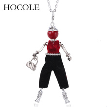 HOCOLE Silver Color Chain Crystal Rhinestone Girl Pendant Necklace Statement Fashion Doll Jewelry Female Long
