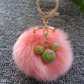 Hot Sale 8cm Simulation Rabbit Fur Ball Keychain Pompom Plush with Cartoon Micky Key Chain Gold Plated Key Ring Women Bag Charms