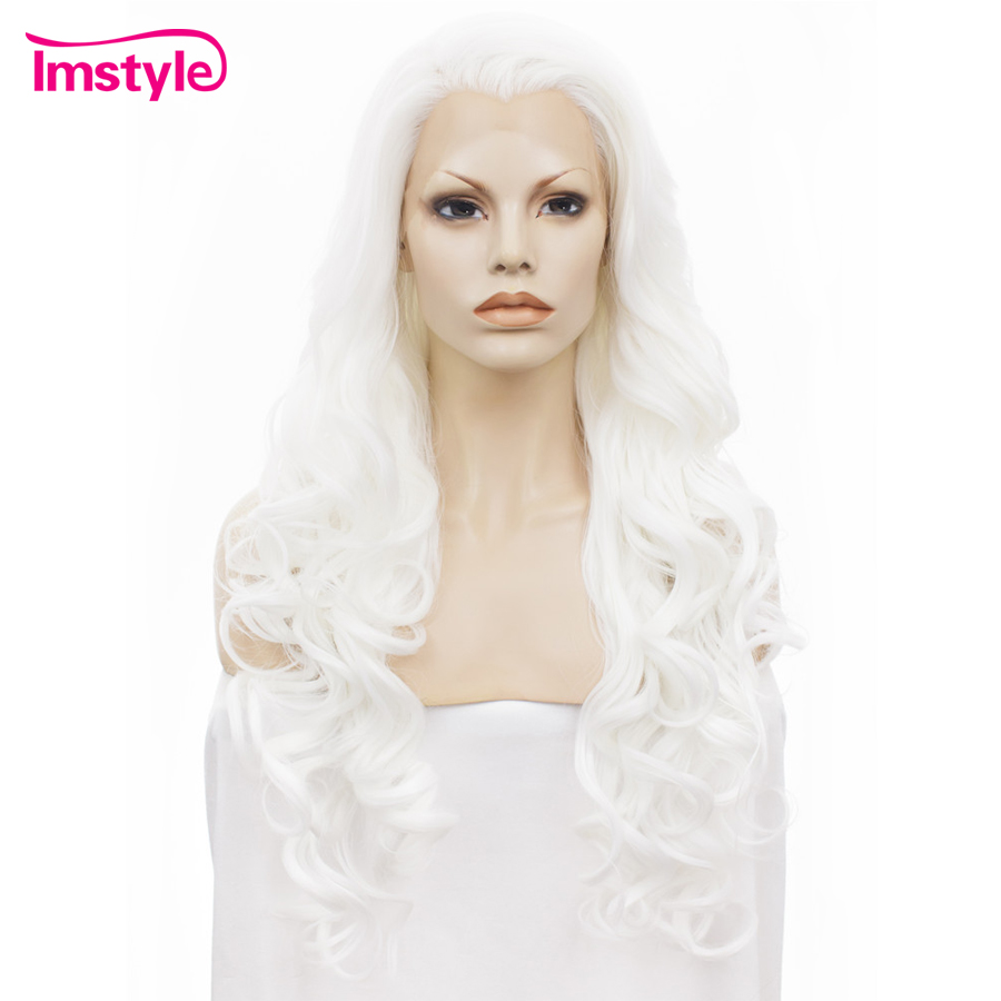 Imstyle Lace Front Wigs Wavy Long White Wigs For Women Heat Resistant Fiber Synthetic Lace Wig