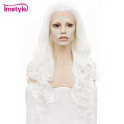 Imstyle Lace Front Wigs Wavy <font><b>Long</b></font> White Wigs For Women Heat Resistant Fiber Synthetic Lace Wig Hair Glueless Cosplay 26 inches