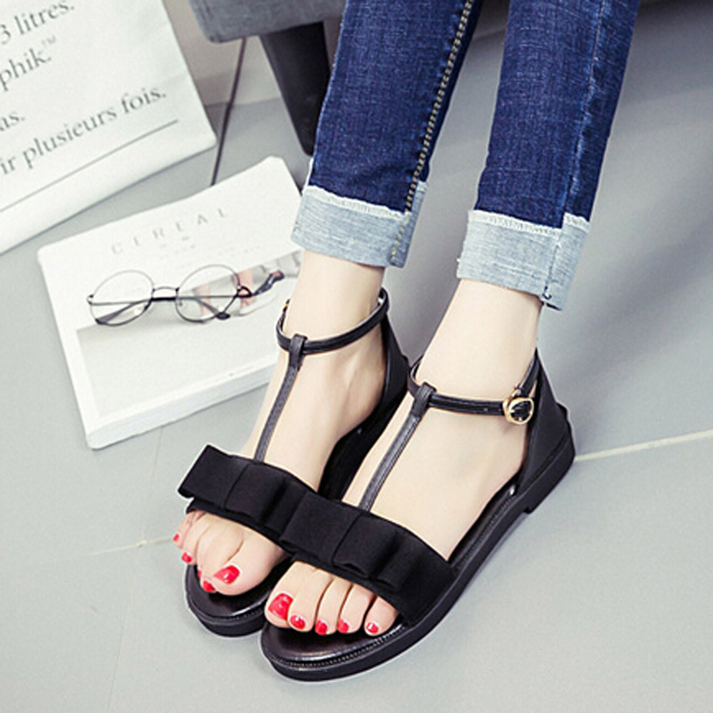 Women Non-slip Sandals New Summer Flat With Buckle Strap Sandals Casual Concise Square heel Rome Open Toe Shoes 2017 2017 new arrival hot sale fashion summer sweet women flats heel sandals casual buckle strap roman sandals flat flat women shoes