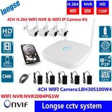 CCTV System 720P 4ch HD Wireless NVR kit Outdoor IR Night Vision 25M IR range wifi Camera Home Security System Surveillance