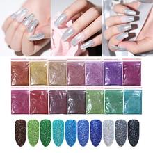 10/5g Nagel Glitter Pulver Laser Nail art Schimmer Pulver Lila Silber Glänzende Nagel Pulver Dekoration