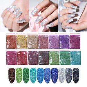 Image 1 - 10/5g Nail Glitter Powder  Laser Nail Art Shimmer Powder Purple Silver Shining Nail Powder Decoration