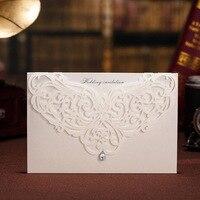 10 adet Yazdırılabilir Beyaz Klasik Tarzı Düğün Davetiyeleri Kartları Özel Rhinestone & Lazer Kesim Çiçek Olay ve Parti Malzemeleri