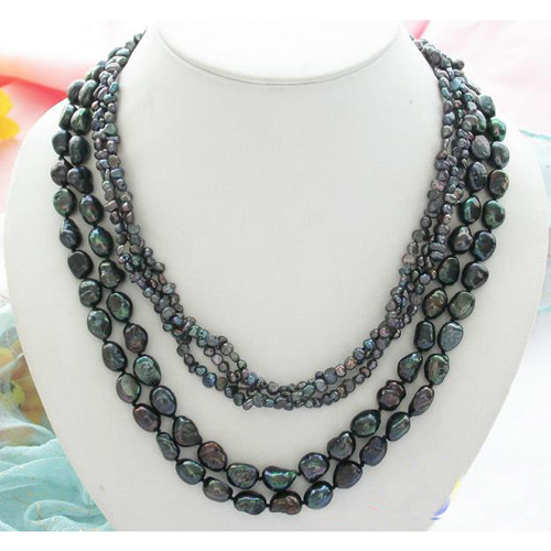 Fashion Women Pearl Jewellery Gift,5Rows 21inches Black Baroque Freshwater Cultured Pearl Necklace,Wholesale,Free Shipping wholesale 100 pcs button black freshwater pearl half hole drilled q30159 1