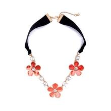 Flower Necklace Ribbon-Chain Fashion Jewelry Handmade Black Big Orange Female Summer