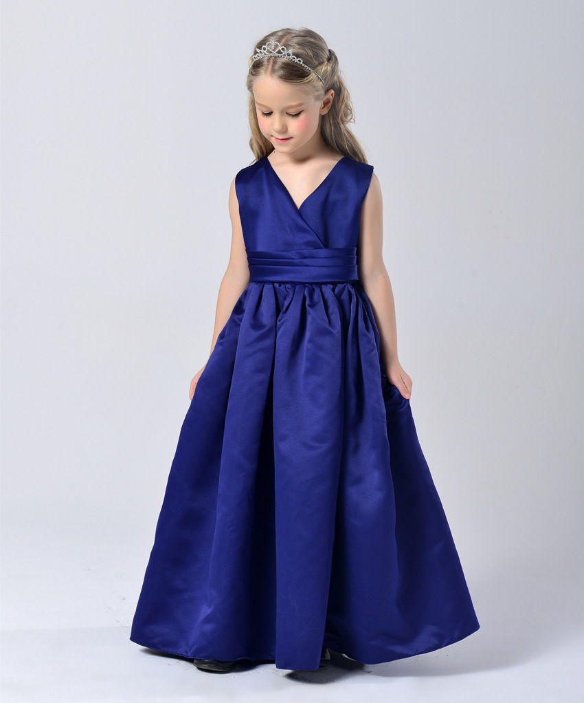Fashion elegant sapphire blue wedding party kid girls for Wedding party dresses for women